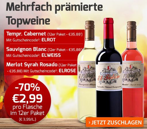 12 Flaschen Casa del Valle El Tidon (Weiß oder Rosé) für je 40,83€