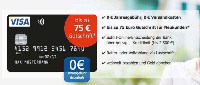 Bildschirmfoto 2016 10 04 um 09.36.42 Knaller! Schwarze VISA Kreditkarte ohne Jahresgebühr + bis zu 75€ Gutschrift