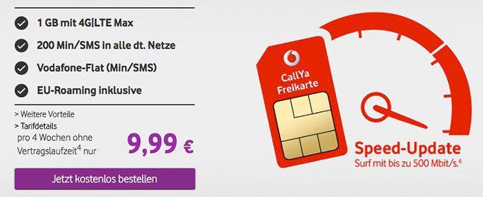 Vodafone CallYa Prepaid für 9,99€ für 4 Wochen   1,1GB LTE, 200 Einheiten