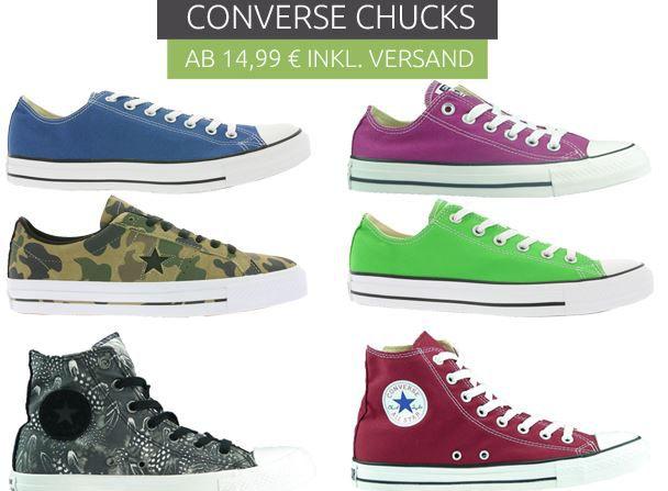 Converse Chucks Converse Rausverkauf   Kult Sneaker & Accessoire ab 12,46€   z.B. Converse Chucks All Star für 34,99€