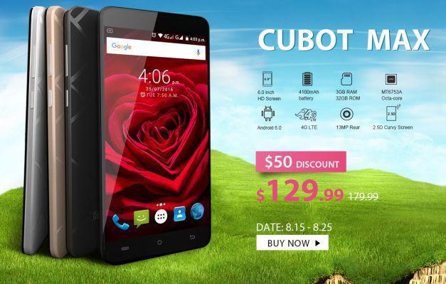 Cubot Max (6″ HD, 3GB RAM, Dual Sim) für nur 120,93€