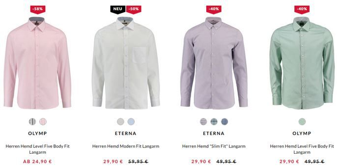 Eterna Gutschein Engelhorn mit 15% auf Business Looks   z.B. günstige Marken Herren Hemden schon ab 24,95€