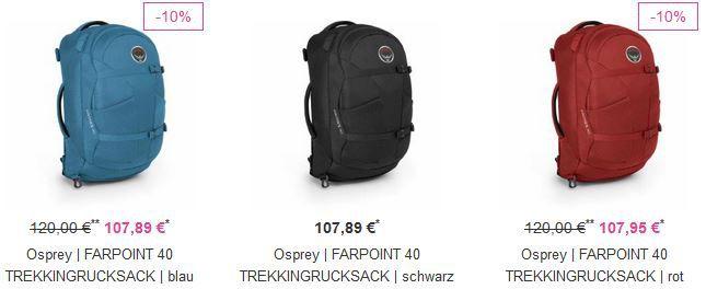 FARPOINT VAOLA   Outdoor Special mit 70% Rabatt + 25% Sofort Rabatt   z.B Osprey Farpoint 40 Rucksack statt 111€ für 81€