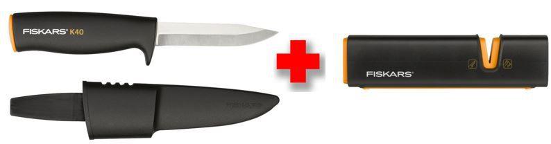 Bestpreis: Fiskars Bundle: Xsharp Axt  und Messerschärfer + Universalmesser K40 für 14,99€ (statt 27€)