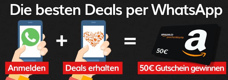 Die besten Deals Gratis per WhatsApp! 2 x 50€ Amazon.de Gutschein gewinnen