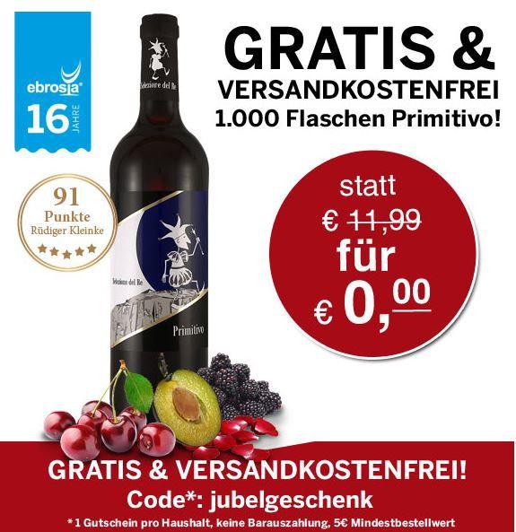 Gratis Wein Gratis: Primitivo Selezione del Re 2012 Wein   ab 5€ MBW   schnell sein