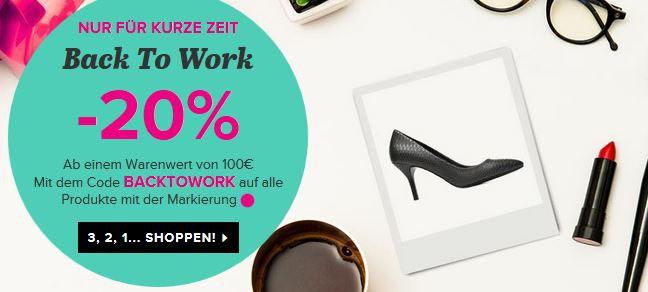 Gutschein Backtowork Sarenza VIP Sale + 20% extra Rabatt auf fast alles + VSK frei