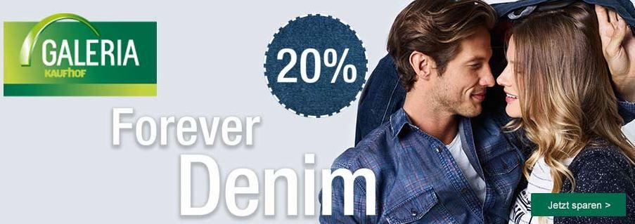Jeans Rabatt Aktion Galeria Kaufhof mit 20% Rabatt auf Damen , Herren  und Kinder Jeans