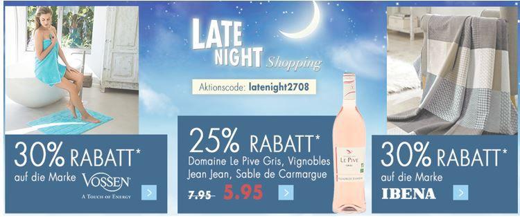Karstadt Late night 28.08.2016 Karstadt Weekend Late Night mit z.B. 30% Rabatt auf die Marke Vossen