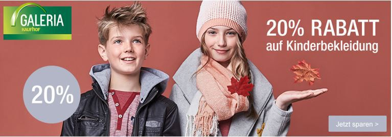 Kinderkleidung mit Rabatt Galeria Kaufhof: 20% Rabatt auf Kinderbekleidung   günstige Markenkleidung