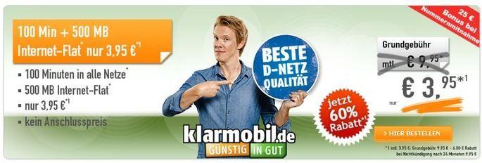 Klarmobil Telekom Netz nur 395EUR monatlich 100 Minuten + 500MB Daten Flat im Telekom Netz nur 3,95€ mtl.