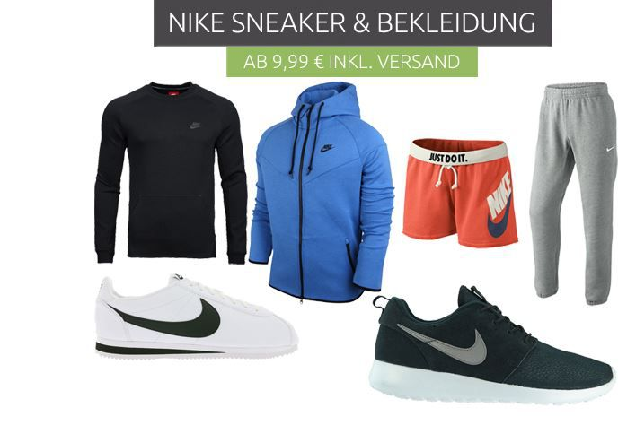 Nike Sale ab 999€ NIKE Sneaker & Fashion Sale   coole Marken Kleidung ab 9,99€