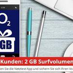 2GB Surfvolumen für O2-Kunden gratis (4x500MB)