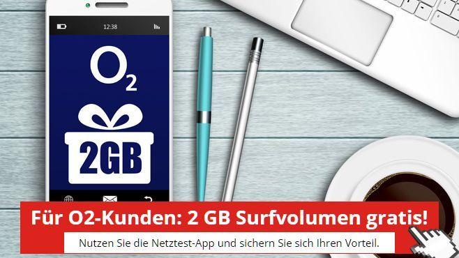 O2 Surfvolumen 2GB Surfvolumen für O2 Kunden gratis (4x500MB)