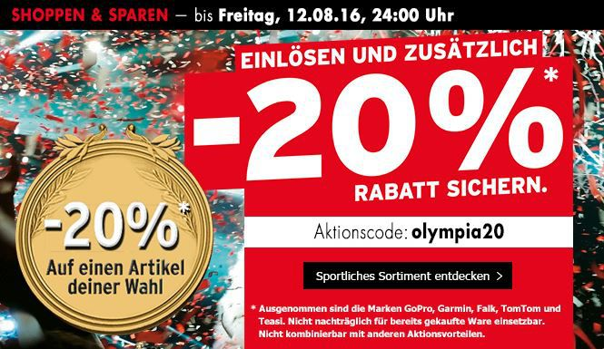 Olimpia Aktionscode Karstadt Karstadt Sport: 20% Rabatt auf einen Artikel nach Wahl