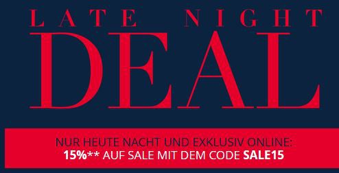 PC Late Night Peek & Cloppenburg Late Night Aktion mit 15% Extra Rabatt im 60% Sale bis 10Uhr!