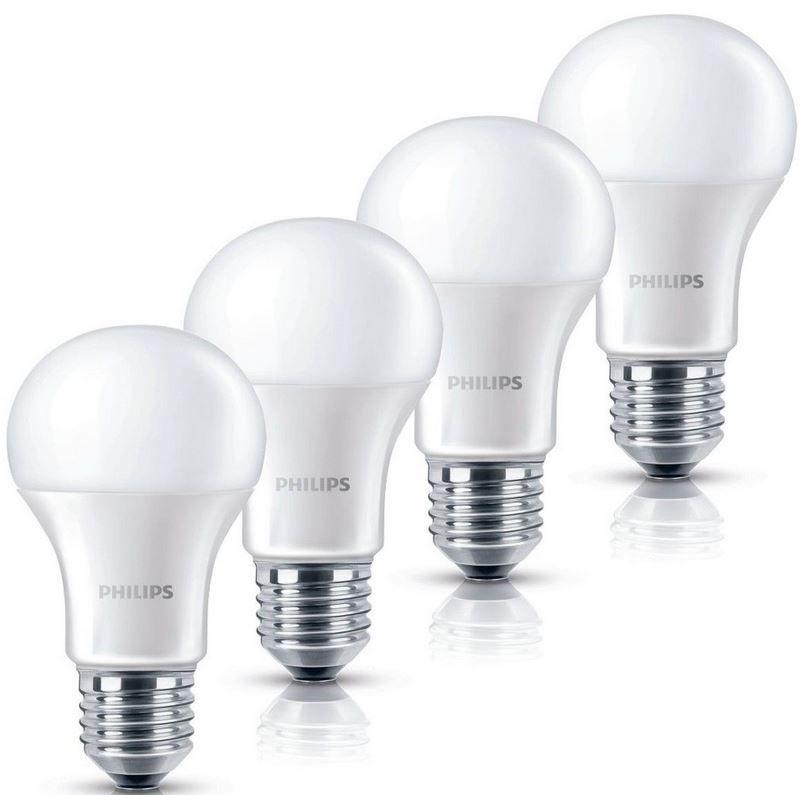 Philips 6Watt LED Birnen Philips LED Lampe 6 W   4er Pack (wie 40W) E27 warmweiß für nur 9,95€