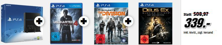 PlayStation 4 Bundle: Konsole + Uncharted 4: A Thief's End + Tom Clancy's The Division + Deus Ex – Mankind Divided für 339€