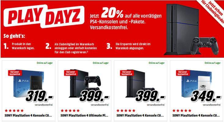 Playstation 4 Media Markt Rabatt Media Markt Play Dayz: 20% Rabatt auf alle PS4 Konsolen und Bundles