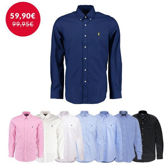 Polo Ralph Lauren Herren Langarm Hemd Polo Ralph Lauren   Herren Langarm Hemden mit Button Down Kragen für 59,90€