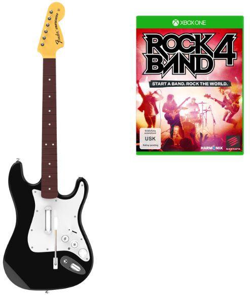 Rock Band 4 Strato Caster Bundle Rock Band 4 Xbox One + Wireless Fender Stratocaster für 34,99€ (statt 59€)