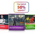 SKY Entertainment 50% Rabatt auf viele Pakete inkl. Receiver + SKY Go ab 11€