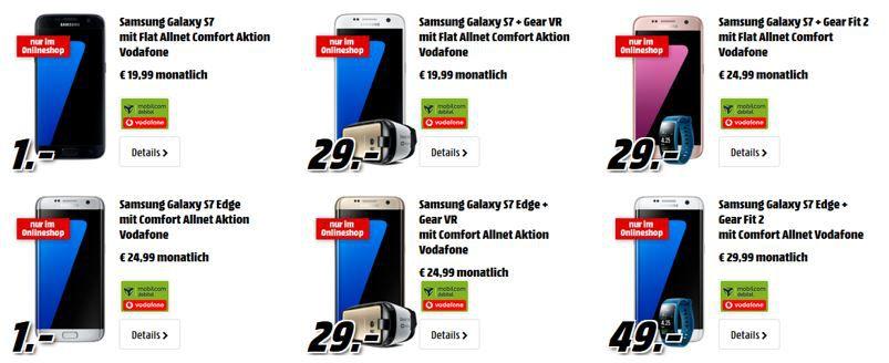 Samsung Galaxy S7 + Gear VR (29€) + Vodafone Tarif (+1GB) für 19,99€ mtl.