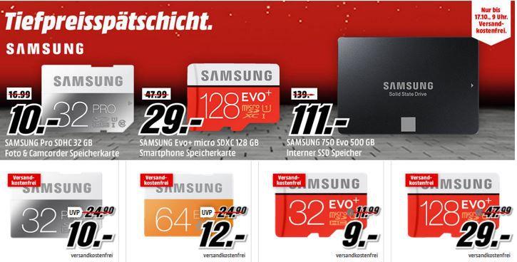 Samsung Speicher Angebote SAMSUNG 128 GB microSDXC Card für 29€   in der Media Markt Samsung Tiefpreisspätschicht