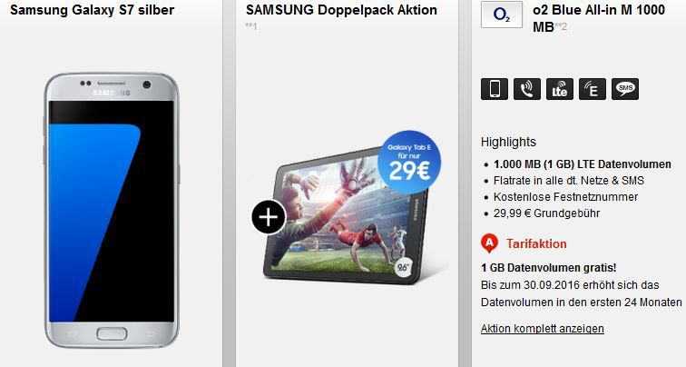 Samsung S7 + Galaxy Tab E +  O2 Flat + 2 GB Daten für 29,99€ mtl.