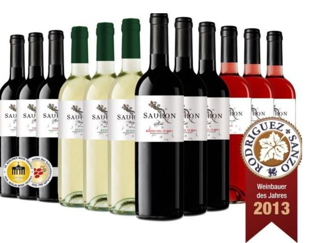 Sauron Roble Toro D.O. 2013   12er Probierpaket spanischer Rot, Weiß und Rosewein für 59,95€