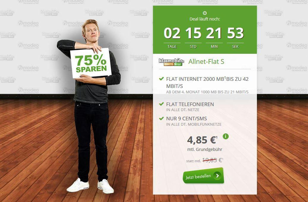 Allnetflat + 1 GB Daten Flat im Telekom Netz nur 4,85€ mtl. HOT!
