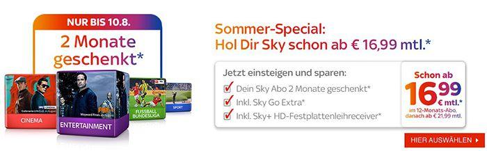 Sky im 12 Monats Abo ab 16,99€mtl.   2 Monate komplett + 3 Monate Sky Go Extra gratis