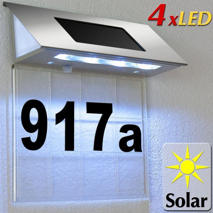Solar LED Hausnummer Edelstahl Solarhausnummer mit 4 starken LEDs für 9,95€
