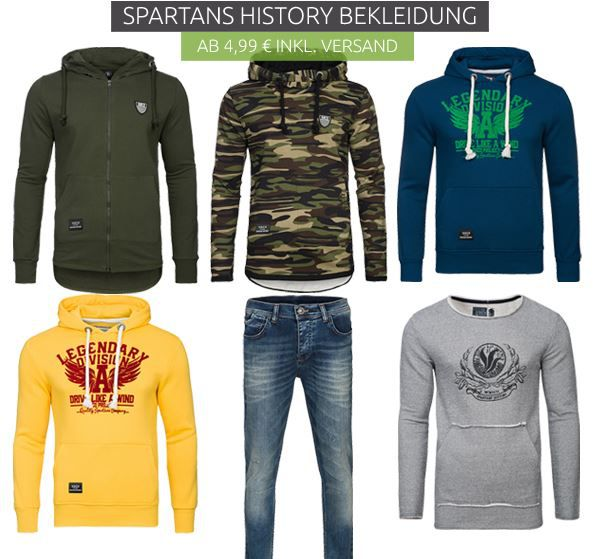 Spartans History Ausverkauf   T Shirts ab 4,46€ Poloshirts ab 7,99€ und mehr