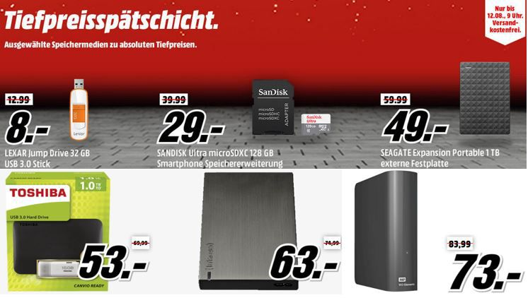 Speicherangebote Lexar JumpDrive S75 USB Stick 32 GB für 8€ in der Media Markt Speichermedien Tiefpreisspätschicht.