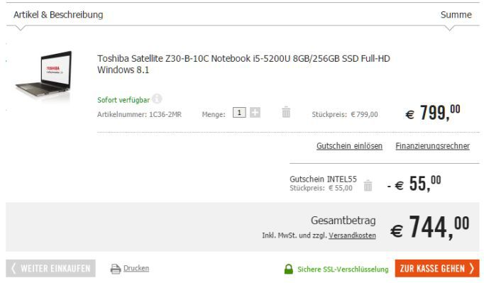 Toshiba Satellite Z30 (13,3 FHD, Core i5, 8GB RAM, 256GB SSD) für nur 744€ (statt 811€)