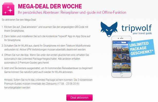 Nur für Telekom Kunden: Tripwolf Unlimited gratis (Wert 19,99€)