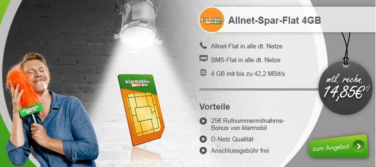 Vollflat Vodafone Voll Flat in alle dt. Netze + SMS + 4GB LTE für effektiv 14,85€