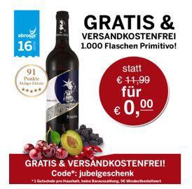 Gratis: Primitivo Selezione del Re 2012 Wein   ab 5€ MBW   schnell sein