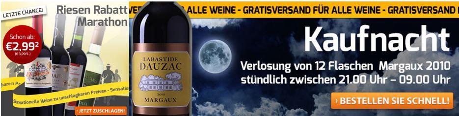 Weinvorteil ab 21 Uhr mit Rabatt Marathon und VSK frei bis Mitternacht
