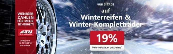 19% Rabatt auf Winterreifen und Winter Kompletträder bei A.T.U