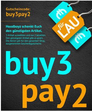 buy pay Hoodboyz Sale: 3 für 2 Aktion  z.B. 3 Jack & Jones T Shirts für 29,95€