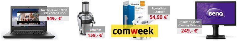 comweek Angebote 31.08.2016 Comtech Comweek Deals – z.B. Lenovo IdeaPad Notebook mit i5 statt 710€ für 549€