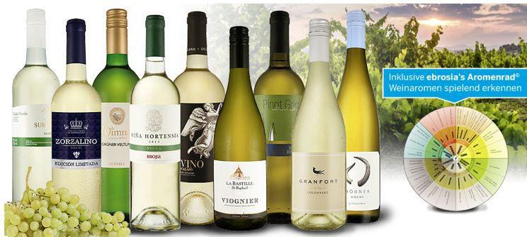 eBrosia Win Aktion Weißwein Weinguru 9 Flaschen Probierpaket + Aromenrad für 39,99€