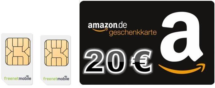 freenet 20€ freenetMobile DUO SIM Karten + 20€ Amazon Gutschein für 3,90€