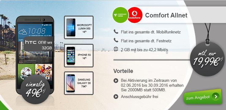 HTC One (M9) 32GB (und andere) + Vodafone Allnet Flat + 2GB Daten (bis zu 42,2 Mbit/s) für 19,99€ mtl.