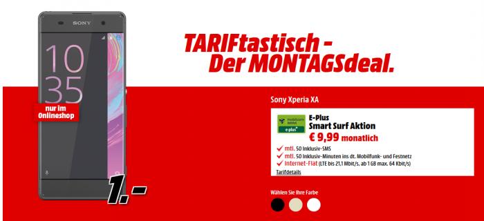 Sony Xperia XA + Eplus (1GB LTE, 50 Min / 50 SMS) für 9,99€ mtl.
