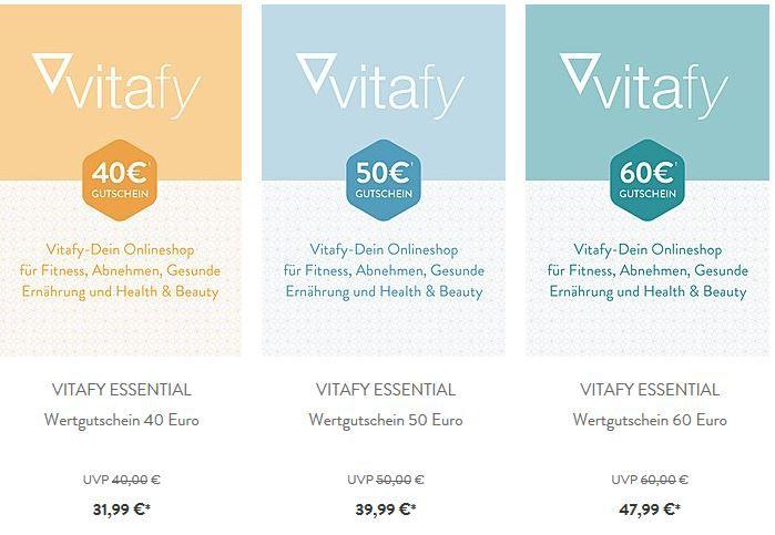 vitafy Rabatt Gutscheine VITAFY   günstige Gutscheine: z.B. 40€ für nur 31,99€