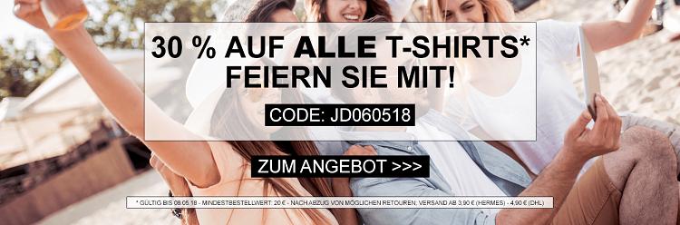 TOP! 30% Rabatt auf alle Herren und Damen T Shirts bei Jeans Direct