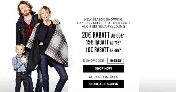Rabattaktion bei s.Oliver   New Season Shopping: bis zu 20€ Rabatt